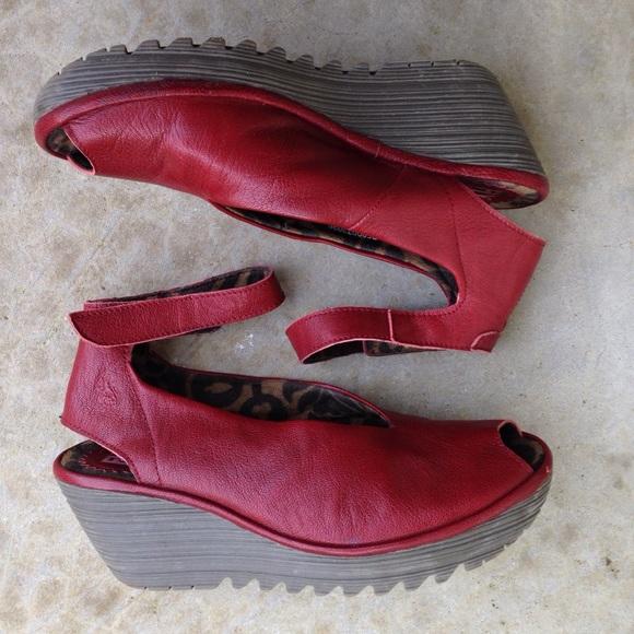 c9790bf7ebc6 Fly London Shoes - Fly London Yala peeptoe wedges shoes red maroon